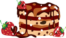 Chocolate cake. Chocolate cake and strawberry. Vector illustration Stock Photography