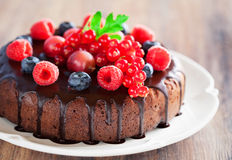Chocolate cake. With fresh berries, selective focus Royalty Free Stock Photography
