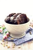 Chocolate cake. Slices of chocolate cake with cardamom Royalty Free Stock Photos