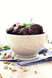 Chocolate cake. Slices of chocolate cake with cardamom stock images