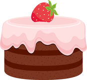 Chocolate cake. With pink cream and strawberry Stock Photography