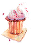Chocolate cake. Original Watercolor painting Royalty Free Stock Photography