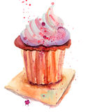 Chocolate cake. Original Watercolor painting Stock Images