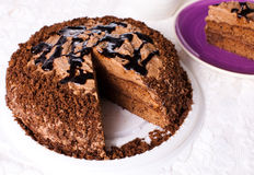 Chocolate Cake. With a piece missing Stock Images