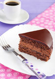 Chocolate cake. With creamy chocolate cream royalty free stock image
