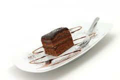 Chocolate cake. Delicious chocolate cake, sweet dessert Royalty Free Stock Photos