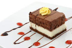 Chocolate cake. Delicious chocolate cake, sweet dessert Royalty Free Stock Photo