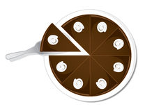 Chocolate cake. Round chocolate cake with cream decoration seen from above. Dessert concept royalty free illustration