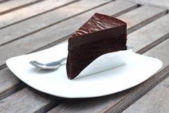Chocolate Cake. On white dish Royalty Free Stock Photos