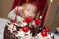 The chocolate cake. With the candles, birthday Stock Photos