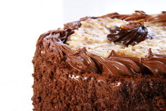 Chocolate Cake. German Chocolate Cake. Double layer round with coconut glaze and chocolate icing Stock Photo