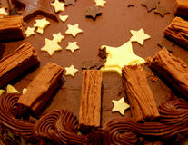 Chocolate cake. Chocolate Party Cake with Star Decorations stock photo