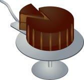 Chocolate cake. With slice on pedestal illustration Royalty Free Stock Photo