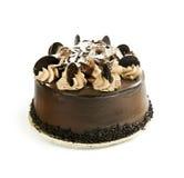 Chocolate cake. Round chocolate cake isolated on white background Royalty Free Stock Images