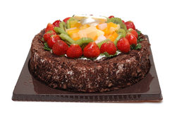 Chocolate cake. It is a chocolate cake, with strawberry, isolated Stock Photo
