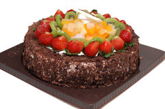 Chocolate cake. It is a chocolate cake, with strawberry, isolated Stock Photography