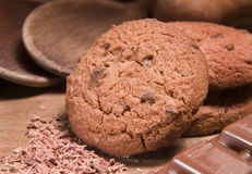 Chocolate cake. Chocolate biscuits on kitchen table Stock Photography