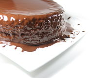 Chocolate cake. With melting cocolate glaze. Sacher torte Stock Photography