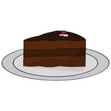 Chocolate cake. Cartoon illustration of a thick slice of chocolate cake Stock Photos