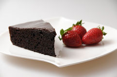 Chocolate Cake. From the seria od Desserts shots at the studio Royalty Free Stock Image