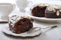 Chocolate cake with almond Stock Photography