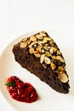 Chocolate cake with almonds Stock Photo