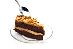 Chocolate cake with almonds isolated, Royalty Free Stock Image