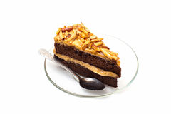 Chocolate cake with almonds isolated, on white Royalty Free Stock Photo