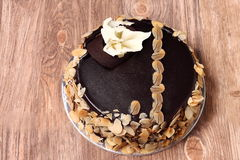 Chocolate cake with almonds Royalty Free Stock Image