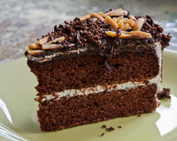 Chocolate cake with almonds Royalty Free Stock Photography