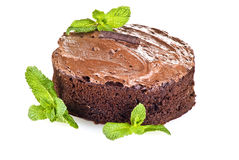 Chocolate Cake And Mint Stock Images