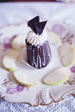 Chocolate cake with apple Royalty Free Stock Photo