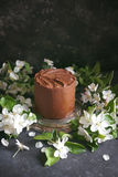Chocolate cake with apple trees flowers on a dark background, Selective focus Stock Image