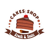 Chocolate cake badge for pastry shop design Stock Image