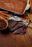 Chocolate cake on a baking sheet Royalty Free Stock Image