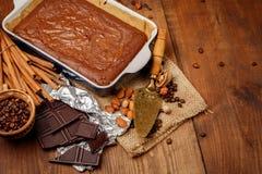 Chocolate cake on a baking sheet Royalty Free Stock Photo