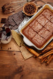 Chocolate cake on a baking sheet Stock Images