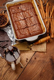 Chocolate cake on a baking sheet Royalty Free Stock Photography