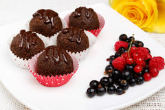 Chocolate cake balls with berries Royalty Free Stock Photo