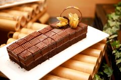 Chocolate cake on a bamboo Stock Photos