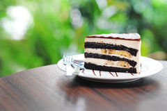 Chocolate cake with banana Royalty Free Stock Photos