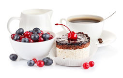 Chocolate cake with berries Stock Photography