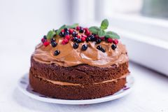 Chocolate cake with berries and cream. For a funny and yummy teatime Royalty Free Stock Photography