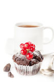 Chocolate cake with berries and a cup of coffee Royalty Free Stock Photography