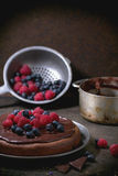 Chocolate cake with berries Stock Image