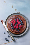 Chocolate cake with berries Stock Photos