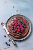 Chocolate cake with berries Stock Photos