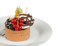 Chocolate cake with berries isolated Stock Photo