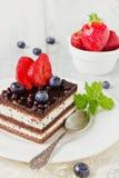 Chocolate cake with berries Stock Photo