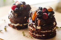 Chocolate cake with berries, wooden backdrop stock photography